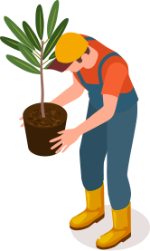 man holding a plant