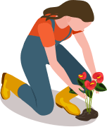 girl holding a plant icon
